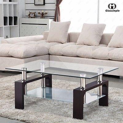 Rectangular Glass Coffee Table Shelf Chrome Walnut Wood Living Room ...