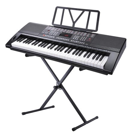 yescom electronic piano keyboard 61 key full size music with x stand lcd display usb input mp3. Black Bedroom Furniture Sets. Home Design Ideas