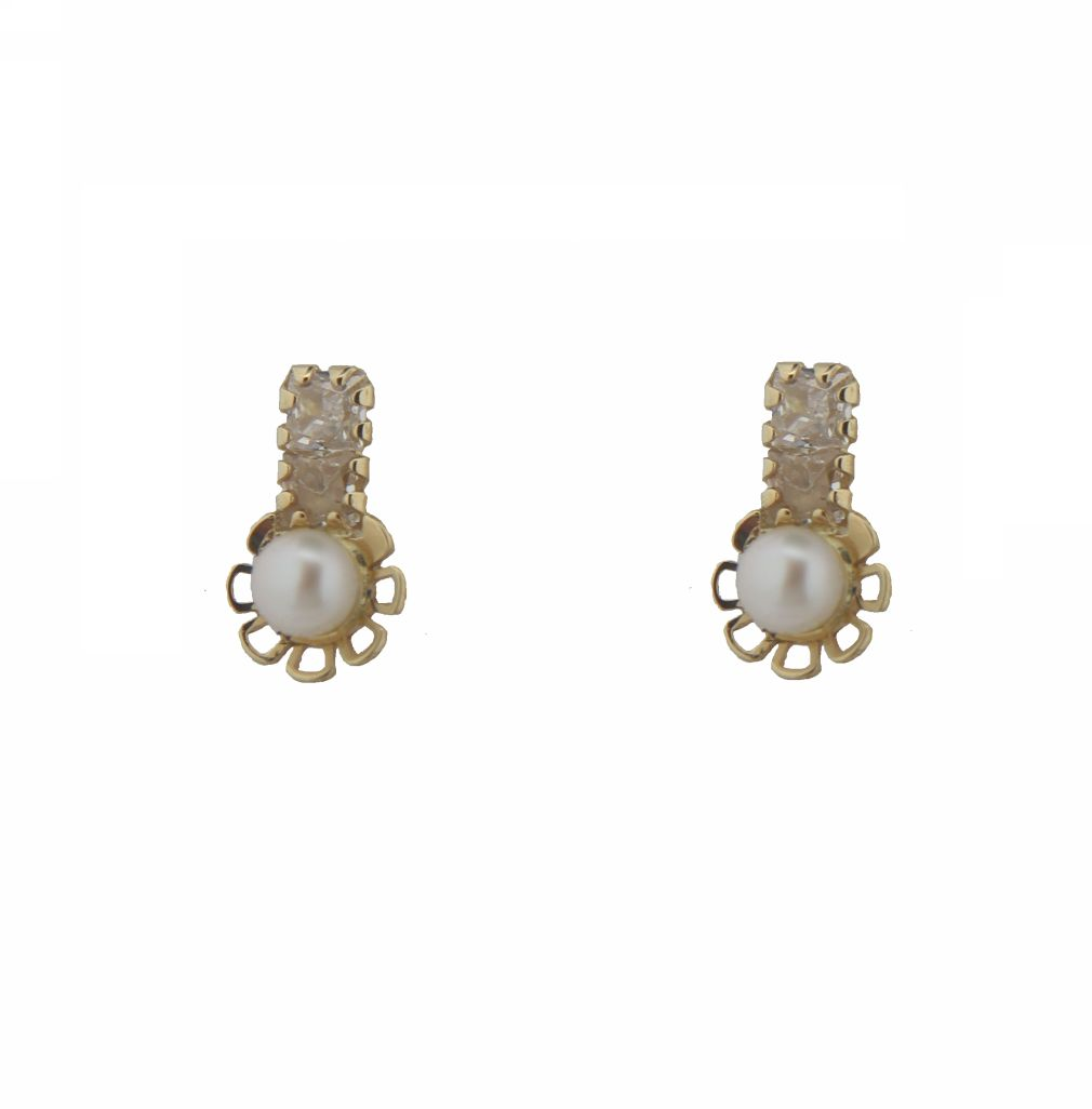 18 K yellow gold circinias and pearl flower screwback earrings(3mm pearl, 4x8 mm,0.16x 0.31 inches) by