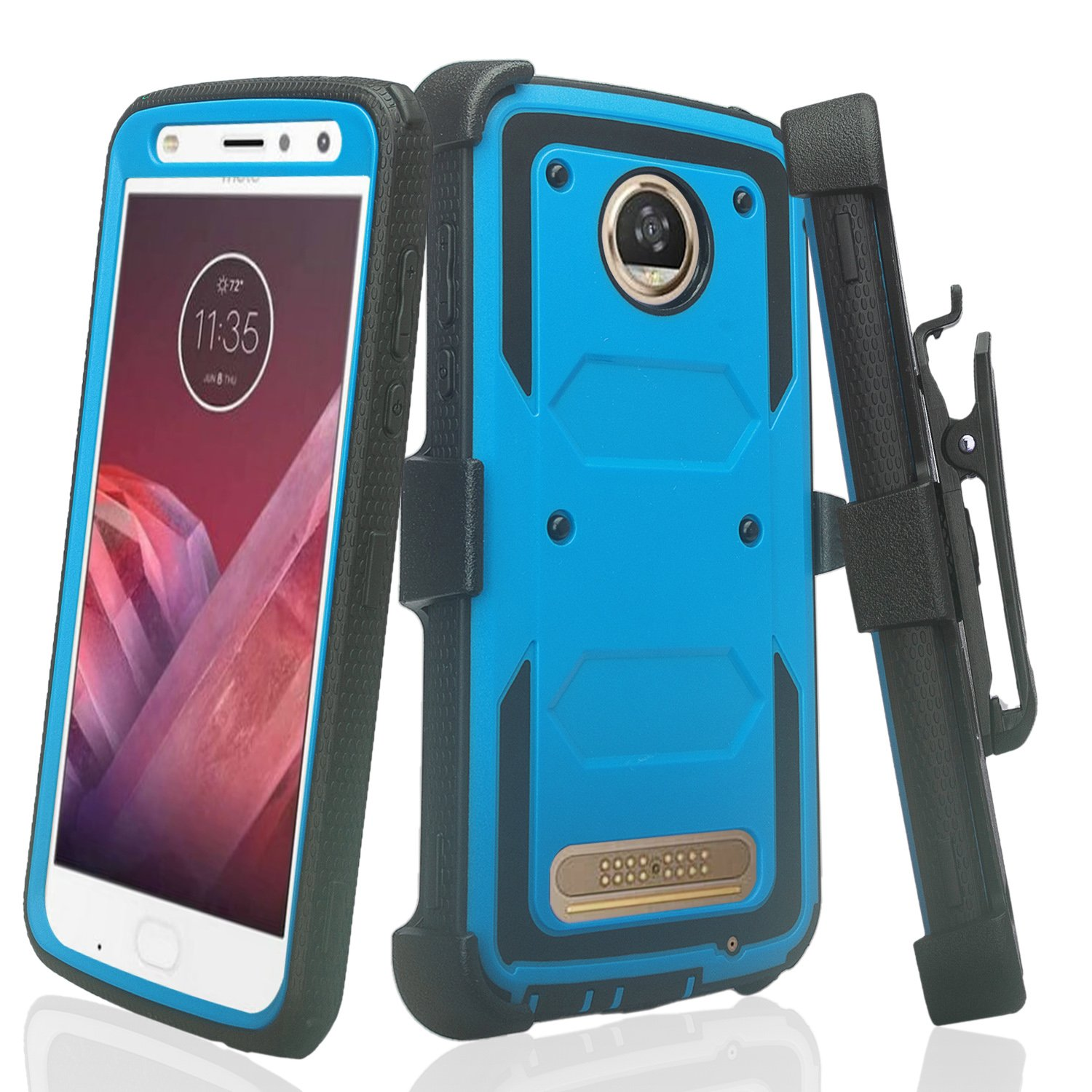 Motorola Moto Z2 Play, Moto Z2 Force, Rugged Full-Body [Built-in Screen Protector] Heavy Duty Holster Shell Combo Case for Z Force 2, Z Play 2 - Blue