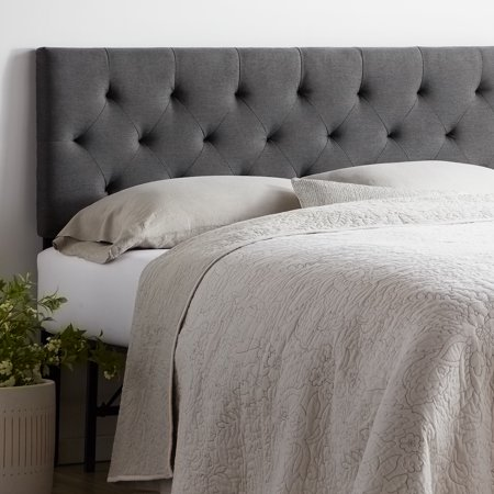 Rest Haven Upholstered Diamond Tufted Mid Rise Headboard, Queen, Charcoal