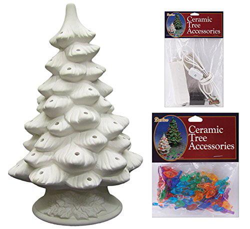 DARICE DIY Unfinished Ceramic Christmas Tree, 11.4-Inch w...