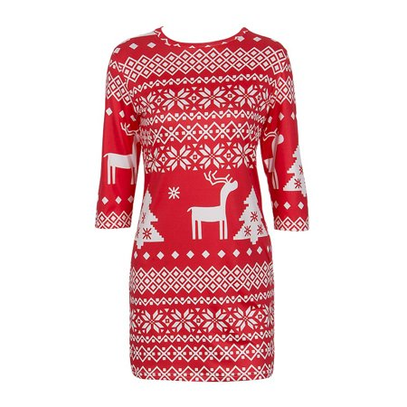 Women Winter Knitted Jumper Christmas Sweater Pullover Knitwear Tops Mini Dress ()