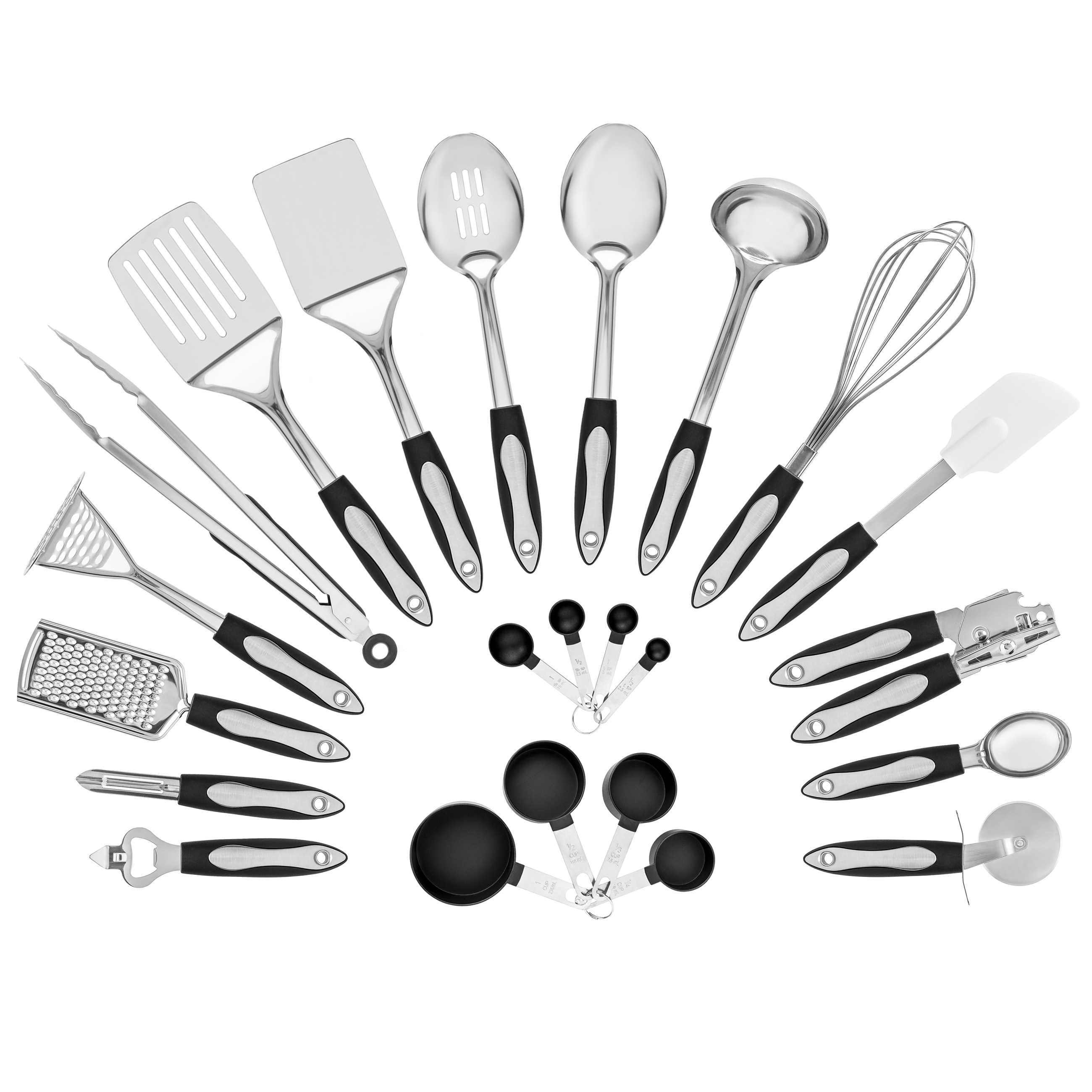 Best Choice Products Set of 23 Stainless Steel Kitchen Cookware Utensil Set w  Spatulas, Measuring Cups,... by Best Choice Products
