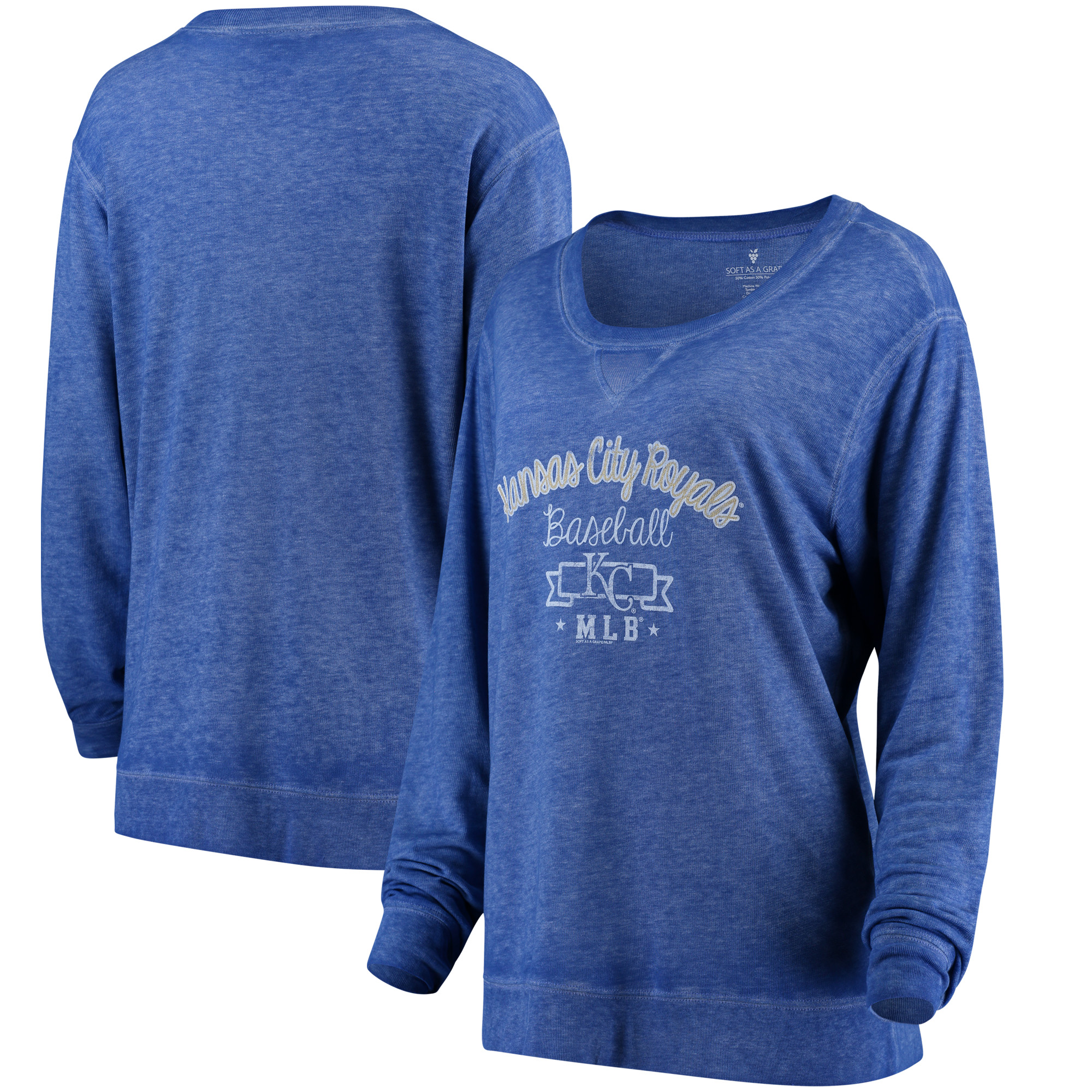 Kansas City Royals Soft as a Grape Women's Home Run Swing Sweatshirt - Royal