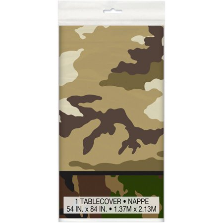 (3 Pack) Unique Military Camo Plastic Table Cover, 84