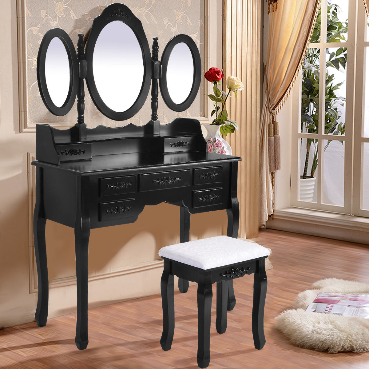 Costway Black Tri Folding Oval Mirror Wood Vanity Makeup Table Set with Stool &7 Drawers by Costway