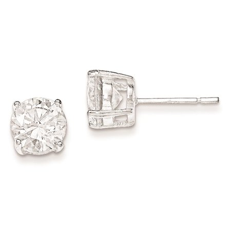 Mens and Ladies 925 Sterling Silver Polished CZ Post Stud Earrings 3mm x 3mm (Chicago Bulls Earrings For Men)