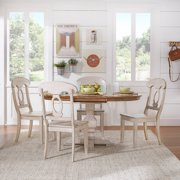 """Weston Home 5-Piece 60"""" Oval Dining Set, with Oak and Antique White Table and Antique White Napoleon Back Chairs"""