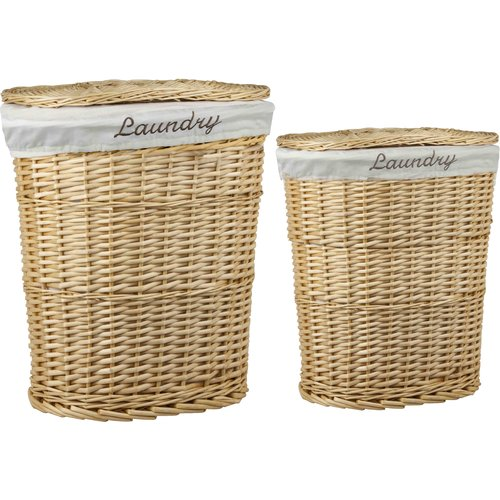 HDS TRADING CORP 2-Piece Wicker Laundry Hamper Set