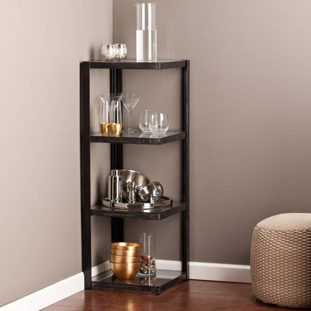 Southern Enterprises Alicia Metal Glass Corner Shelf Distressed Black