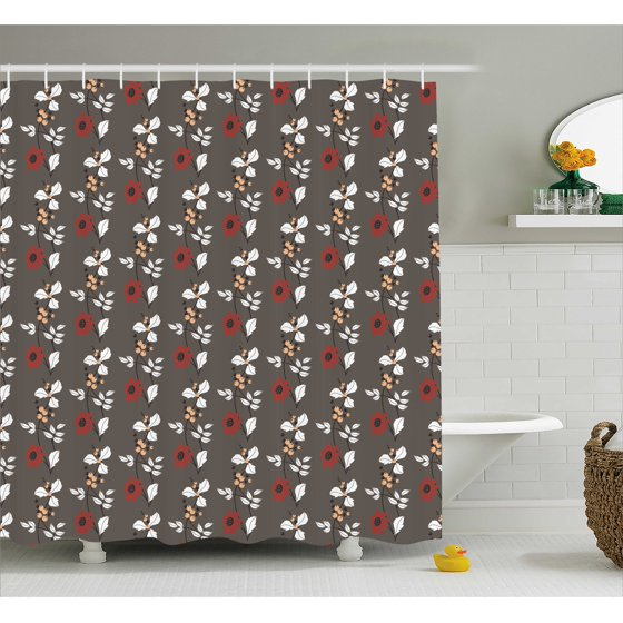 extra brown and red shower curtain. Floral Shower Curtain  Spring Nature Garden Theme Art Pattern with Red Blooms Leaves and Little Buds