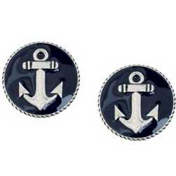 Earring-Anchor w/Deep Blue Epoxy On Surgical Steel Posts (Pewter)