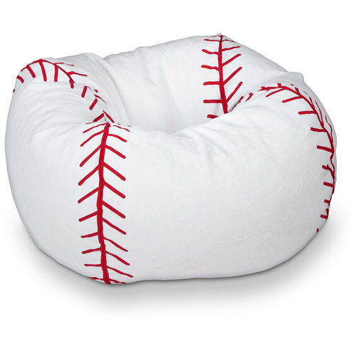 "96"" Round Vinyl Bean Bag, Baseball"