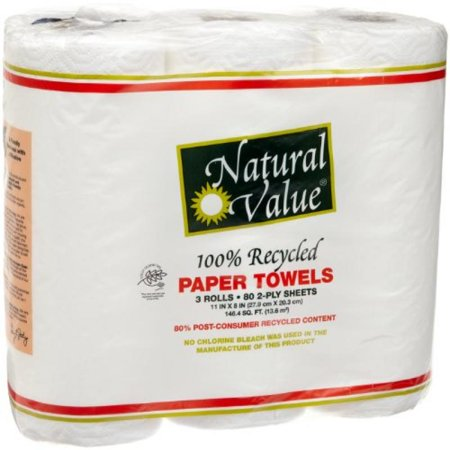 Natural Value 100% Recycled Paper Towels, 80 2-Ply Sheets Per Roll, 3 Rolls (Pack of (Best Value Paper Towels)