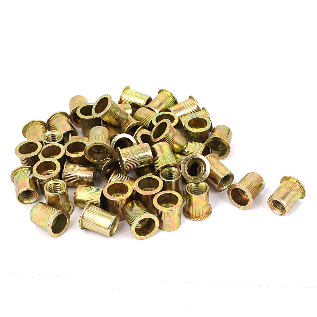 "Uxcell 3/8""-16 Metal Flat Head Rivet Nut Insert Nutsert Gold Tone (50-pack)"