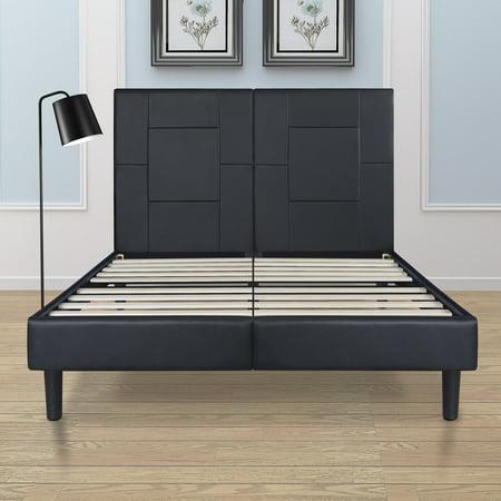 Granrest Dura Metal Faux Leather Platform Bed Frame King Size