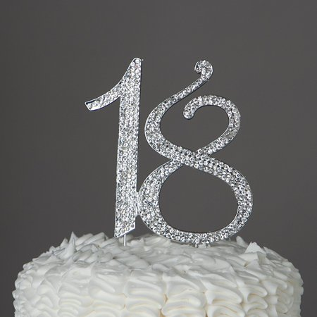 18 Cake Topper 18th Birthday Party Supplies & Decoration Ideas (Silver) (1 Birthday Ideas)