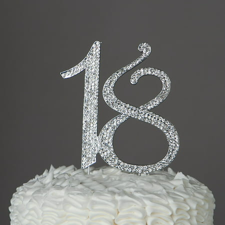18 Cake Topper 18th Birthday Party Supplies & Decoration Ideas (Silver)