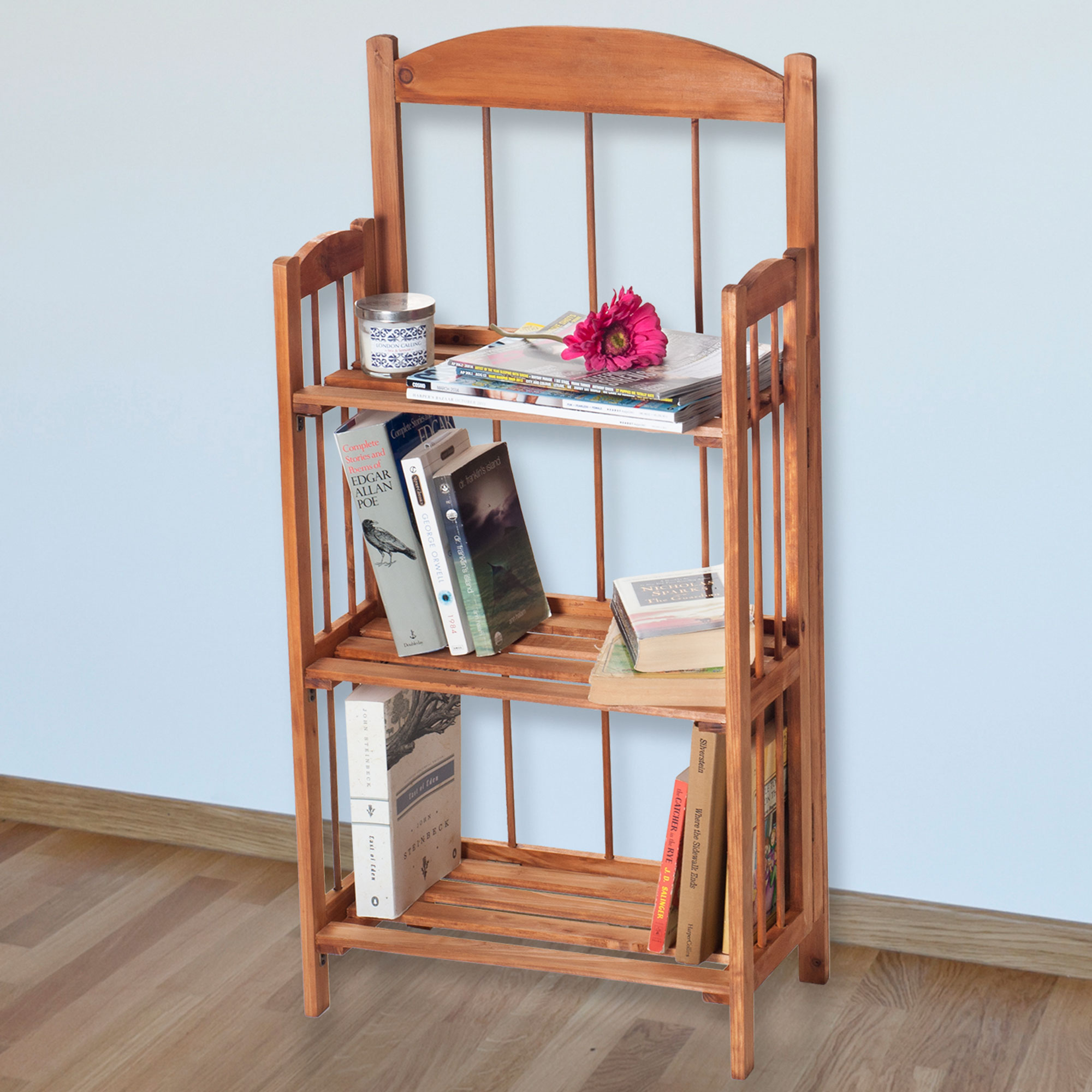 Three Tiered Shelf Light Wood Finish Bookcase by Lavish Home