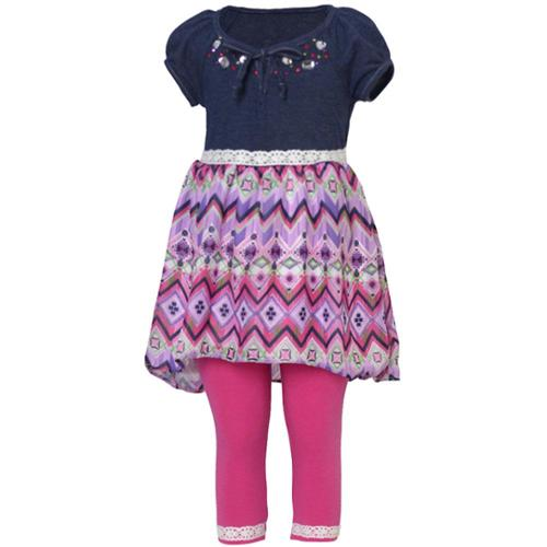 Little Girls Fuchsia Kaleidoscope Print Jeweled Neckline Legging Set 2T-6X