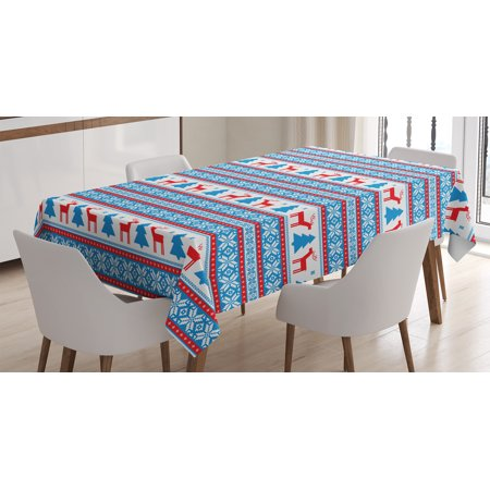 - Christmas Decorations Tablecloth, Traditional Folkloric Knit Style Image Holiday Season Office Cafe Decor, Rectangular Table Cover for Dining Room Kitchen, 52 X 70 Inches, Red Blue, by Ambesonne