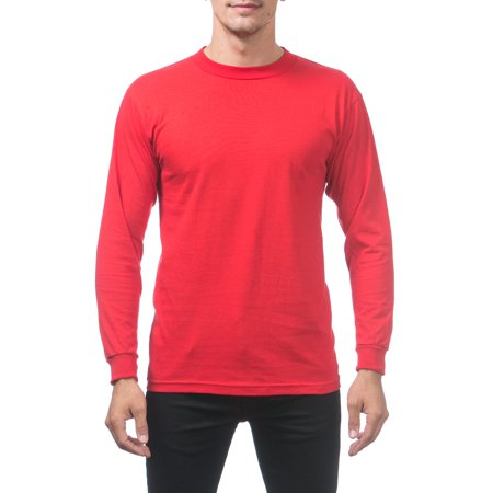 b944e3d0 Pro Club - Pro Club Men's Comfort Cotton Long Sleeve T-Shirt, Large, Red -  Walmart.com