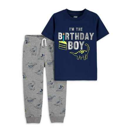 Child of Mine by Carter's Baby Toddler Boy Birthday Short Sleeve T-shirt & Pants, 2pc Outfit Set Boys Navy Short Set