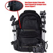 2xhome -Large Deluxe Pro Photo Studio Camera Case Carry Shoulder Travel Bag Photography Backpack for Canon Nikon Sony DSLR SLR BLACK EOS Digital Weather Muti-functional Storage Nikon