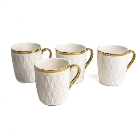 Yedi YCC753, 11 Oz Fine Porcelain Mug, Ceramic Teacup, Bone China Emma Collection White Cup for Tea or Coffee, Set of 4 Fine Bone China Cup