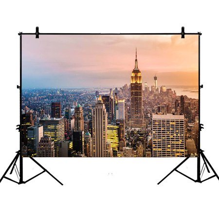 YKCG 7x5ft Cityscape New York Skyline at Teilight Photography Backdrops Polyester Photography Props Studio Photo Booth Props