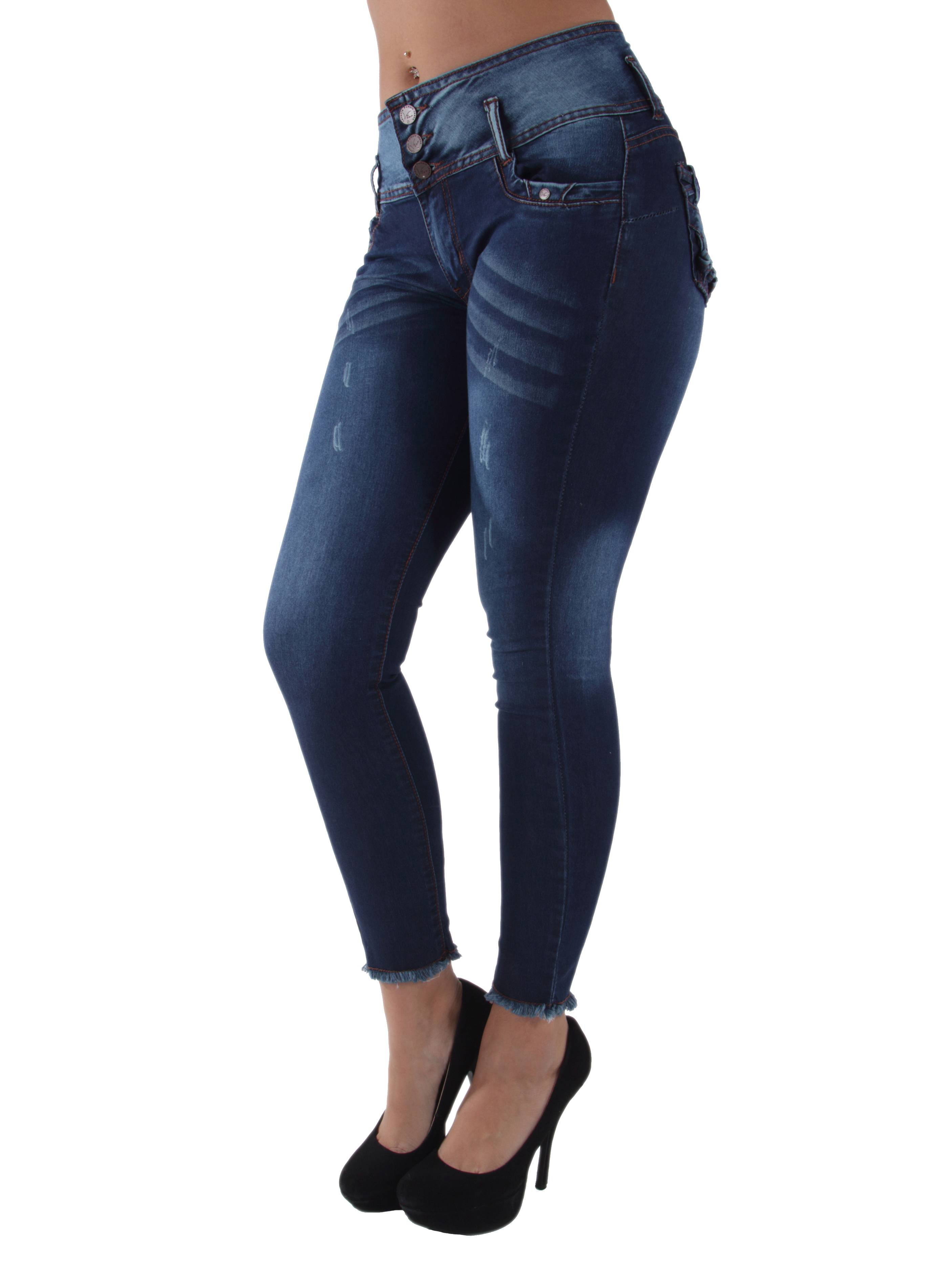 9W073(S) - Mid Waist, Butt Lift, Levanta Cola, Ankle Skinny Jeans