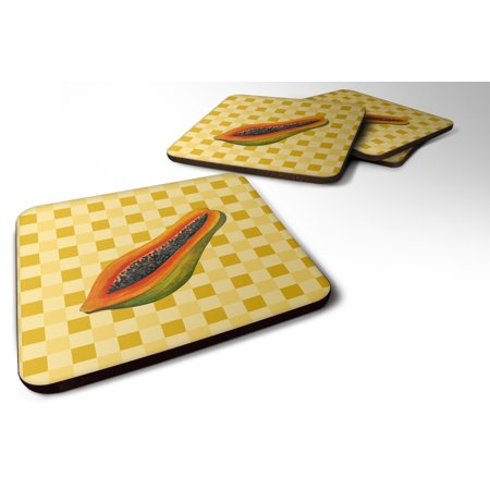 Set of 4 Sliced Papaya on Basketweave Foam Coasters Set of 4 BB7242FC