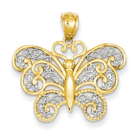 14k Yellow Gold and Rhodium Filigree Butterfly Pendant Charm