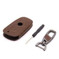 Coffee Color Faux Leather Car Remote Key Controller Cover Holder Case for  5