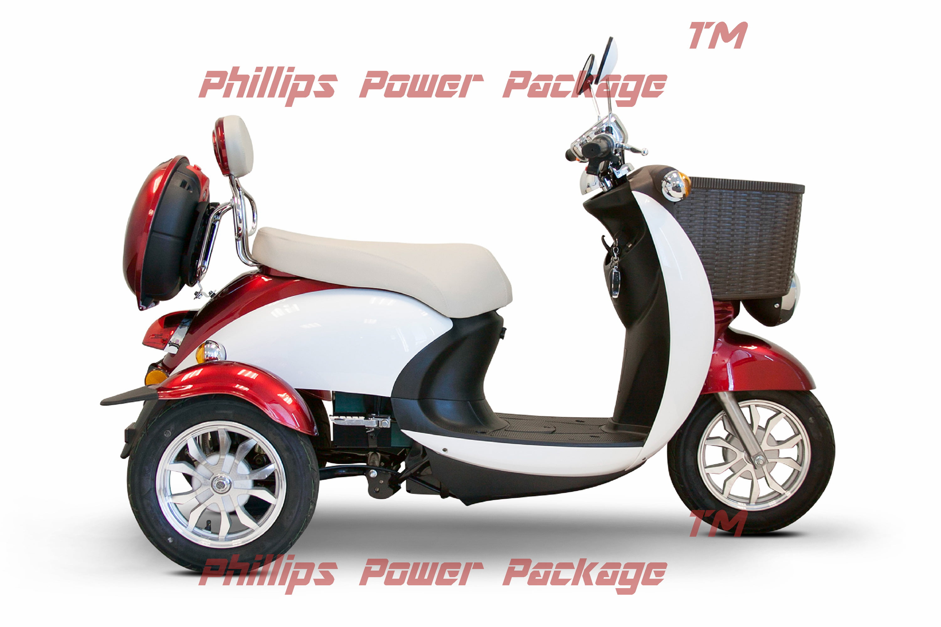E-Wheels EW-11 Sport Euro Type Scooter 3-Wheel Red White PHILLIPS POWER PACKAGE TM $500 VALUE by Ewheels