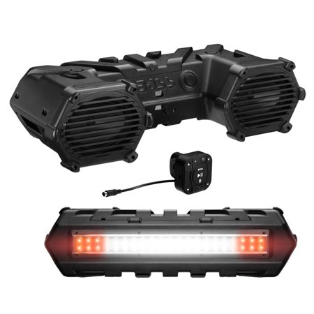 BOSS AUDIO ATVB69LED Powersports Plug and Play Bluetooth Sound System with 800-Watt Built-In Amp and LED Light Bar