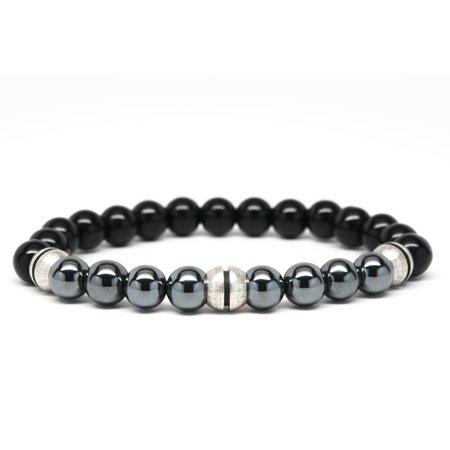 Black Onyx and Hematite Beaded Mens Bracelet