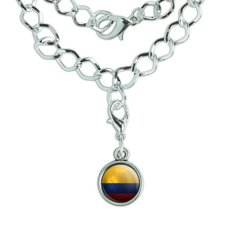 Colombia Flag Soccer Ball Futbol Football Silver Plated Bracelet with Antiqued Charm ()