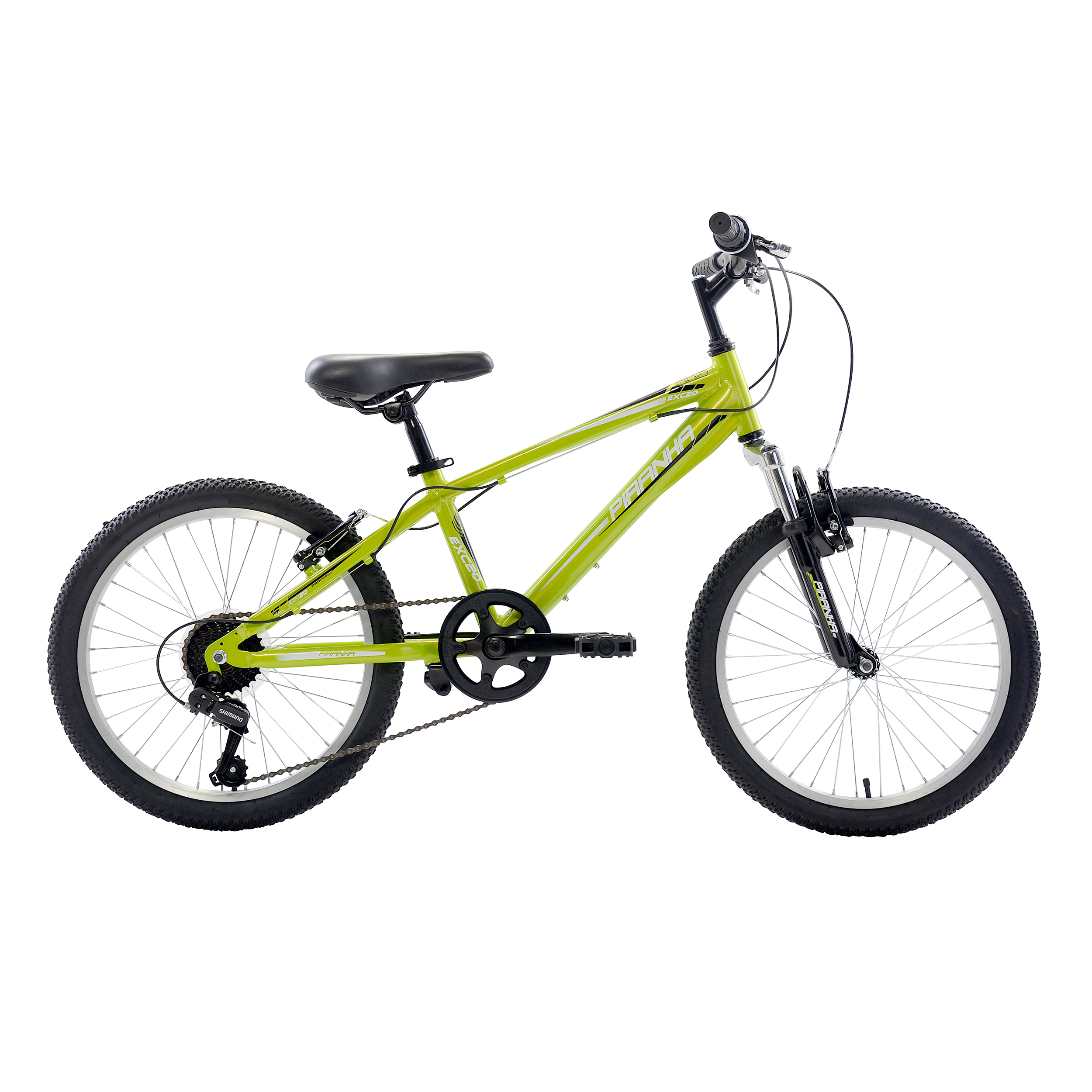 Piranha 7 Speed Kids' MTB, 20 inch wheels, Boy's Bike, Green