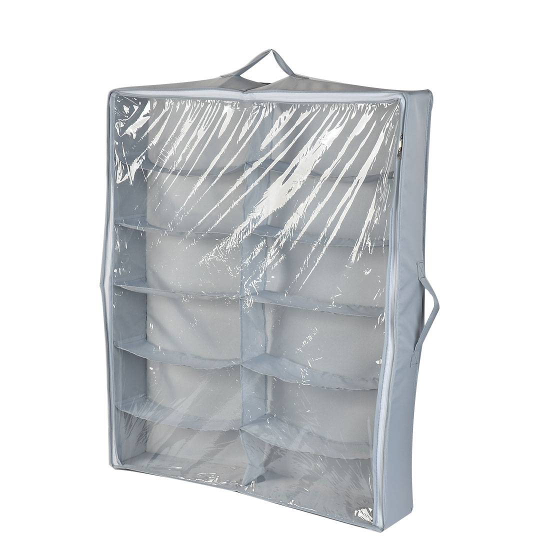 Household 12 Compartments Shoes Storage Box Bag Packing Case Gray