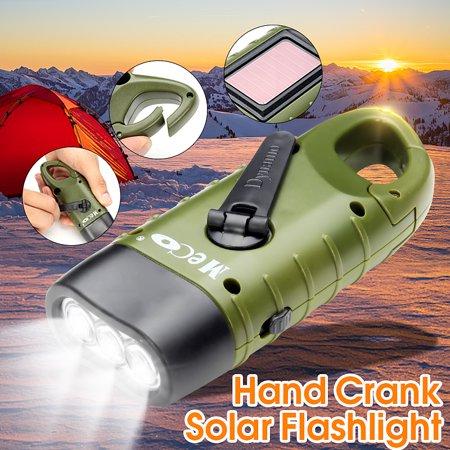 Mini Emergency Flashlight Hand Crank Solar Flashlight Solar Powered Rechargeable LED Light Lamp Charging Powerful Torch or Emergency, Hiking, (Smartwool Hiking Ultra Light Mini)