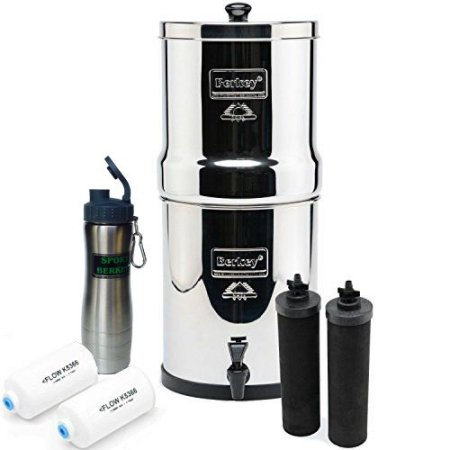 Big Berkey Water Filtration System Bundle with 2 Black Filters, 2 Fluoride Filters and Berkey Stainless Steel Water Bottle, 2.25 Gallon