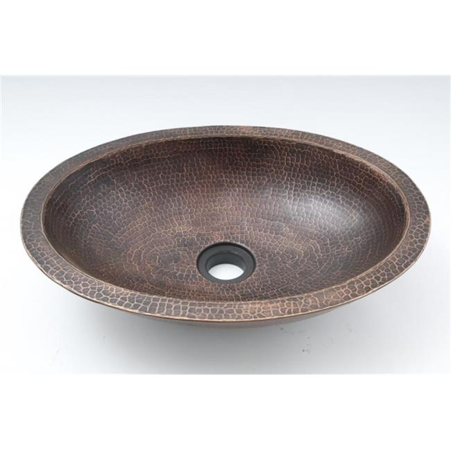Space Enterprises, LLC.  DBA Ambiente CS-BAR-DWL-OVA-SD 19 inch Copper Handmade Bar Vessel Double Wall Oval Sink