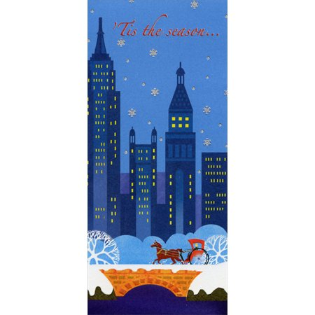 Designer Greetings Tis the Season: City Skyline - Package of 8 Christmas Money / Gift Card Holders (Nearest Party City)