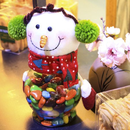 Holiday Time Christmas Plush & Plastic Candy Container Decorative Candy Jars Holiday