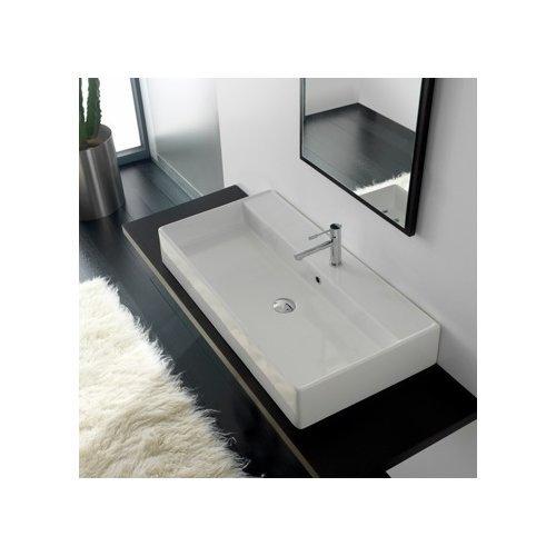 Scarabeo By Nameeks Teorema Ceramic Rectangular Vessel Bathroom Sink With Overflow Walmart Com Walmart Com