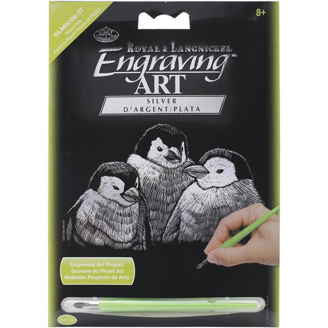 Penguin Chicks Silver Foil Engraving Art Mini Kit - 5 x 7 in.
