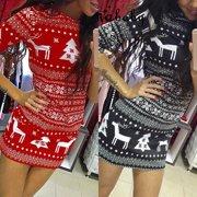 Women Winter Knitted Christmas Dress Ladies Costume Xmas Plus Sized Jumper Dress