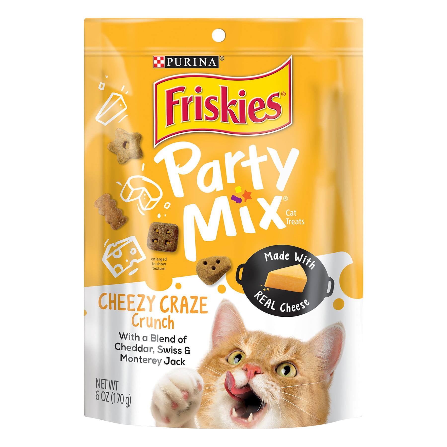 (2 Pack) Purina Friskies Party Mix Crunch Cheezy Craze Cat Treats, 6 oz